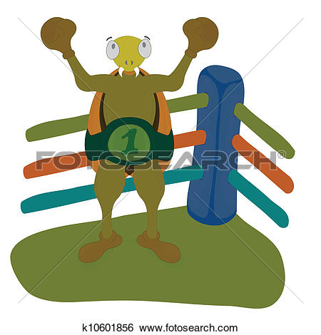 Clip Art of beetle became a champion k10601856.