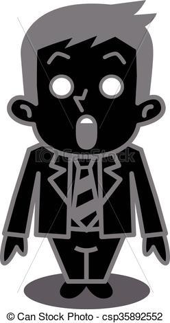 Clipart Vector of Men became ash.