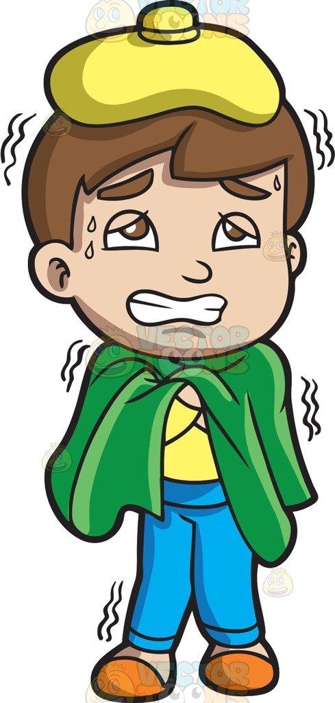 A Boy Shivering Because Of Fever Vector Clip Art Cartoon.