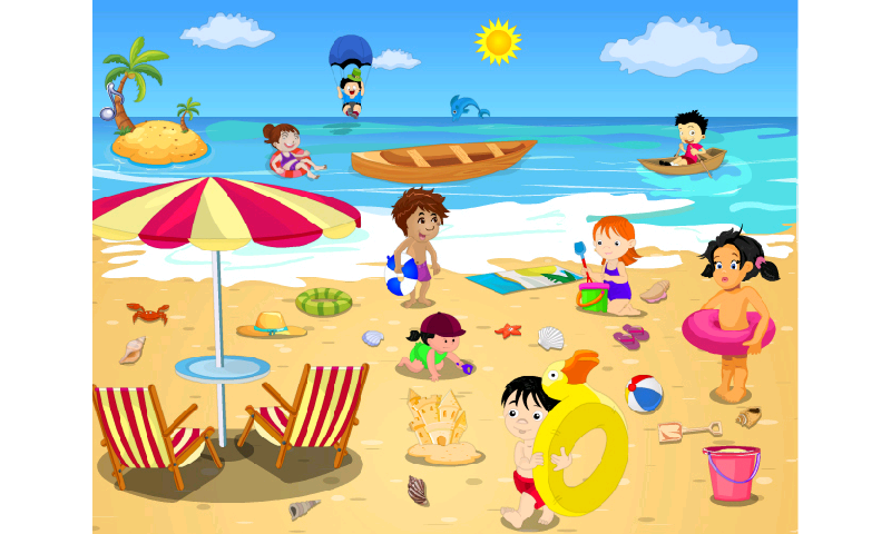Day at the beach clipart.