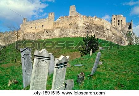 Stock Image of Old derelict jewish gravestones near the ruins of.