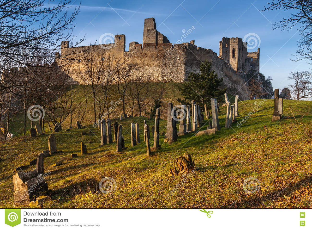 Jewish Cemetery Below Medieval Castle Beckov Editorial Stock Photo.
