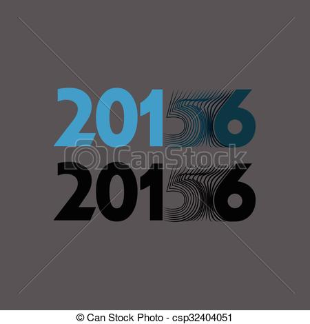 Clipart Vector of 2015 is becoming 2016 in a modern typographical.