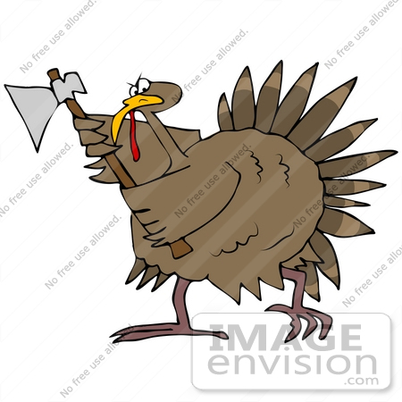 Clip Art Graphic of a Turkey Bird Running With An Ax, Defending.