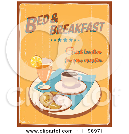 Clipart of a Retro Distressed Bed and Breakfast Poster.