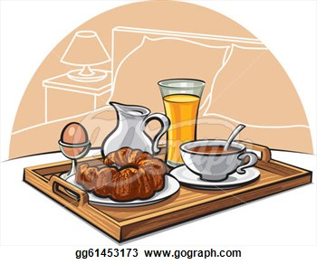 With Breakfast On A Bed In A Hotel Room Clipart Drawing Gg61453173.