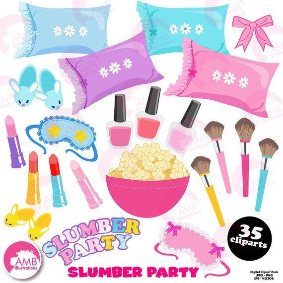 Slumber party, girls sleep over, pyjama party clipart.