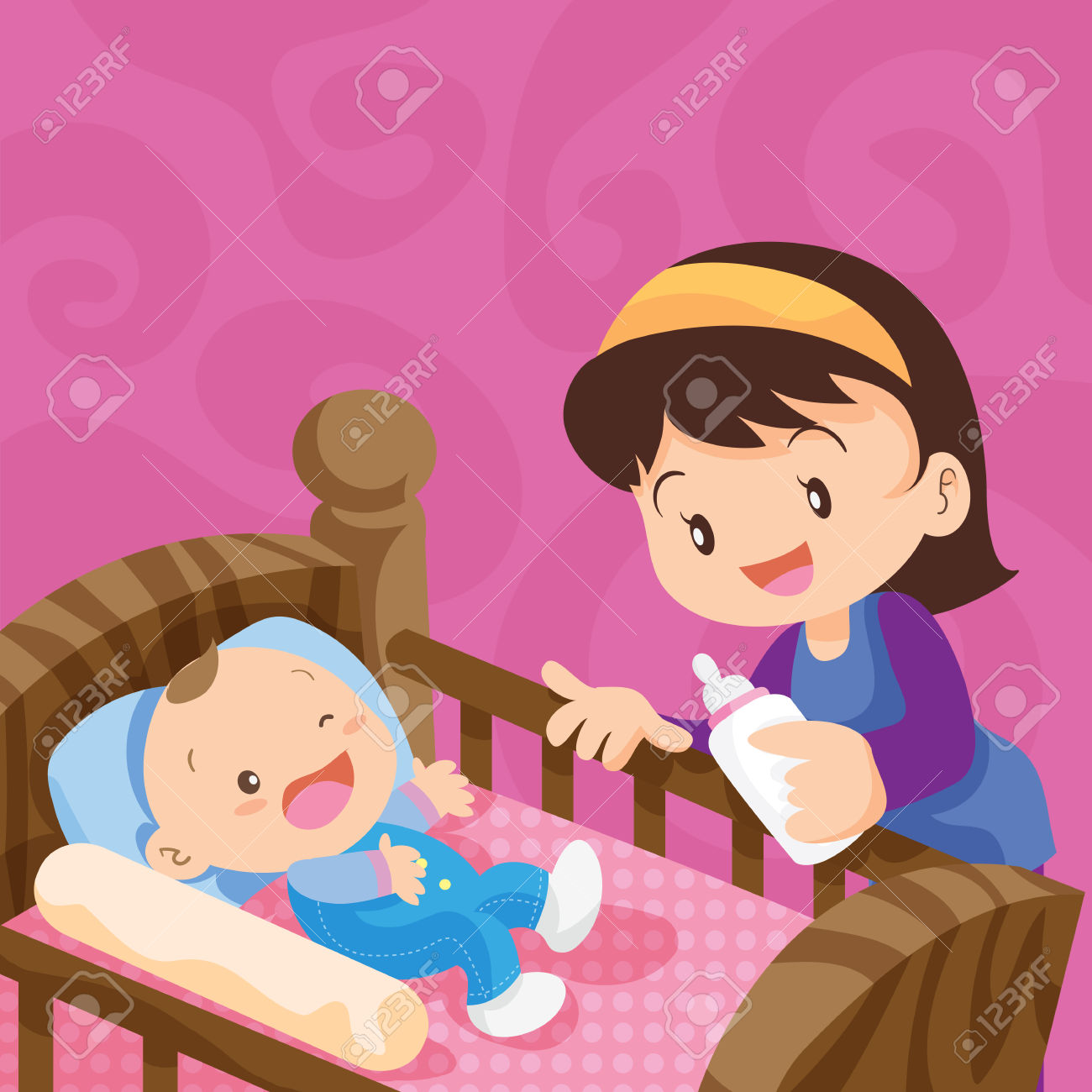 Pretty Baby With Milk Bottle.Cute Baby In The Bed With Mother.