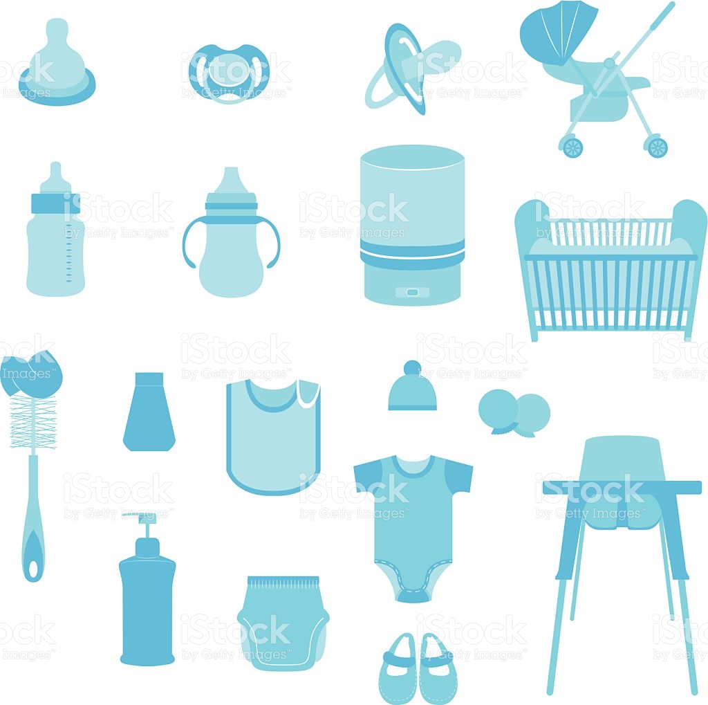 Set Of Baby Care And Child Equipment Vectors And Icons stock.