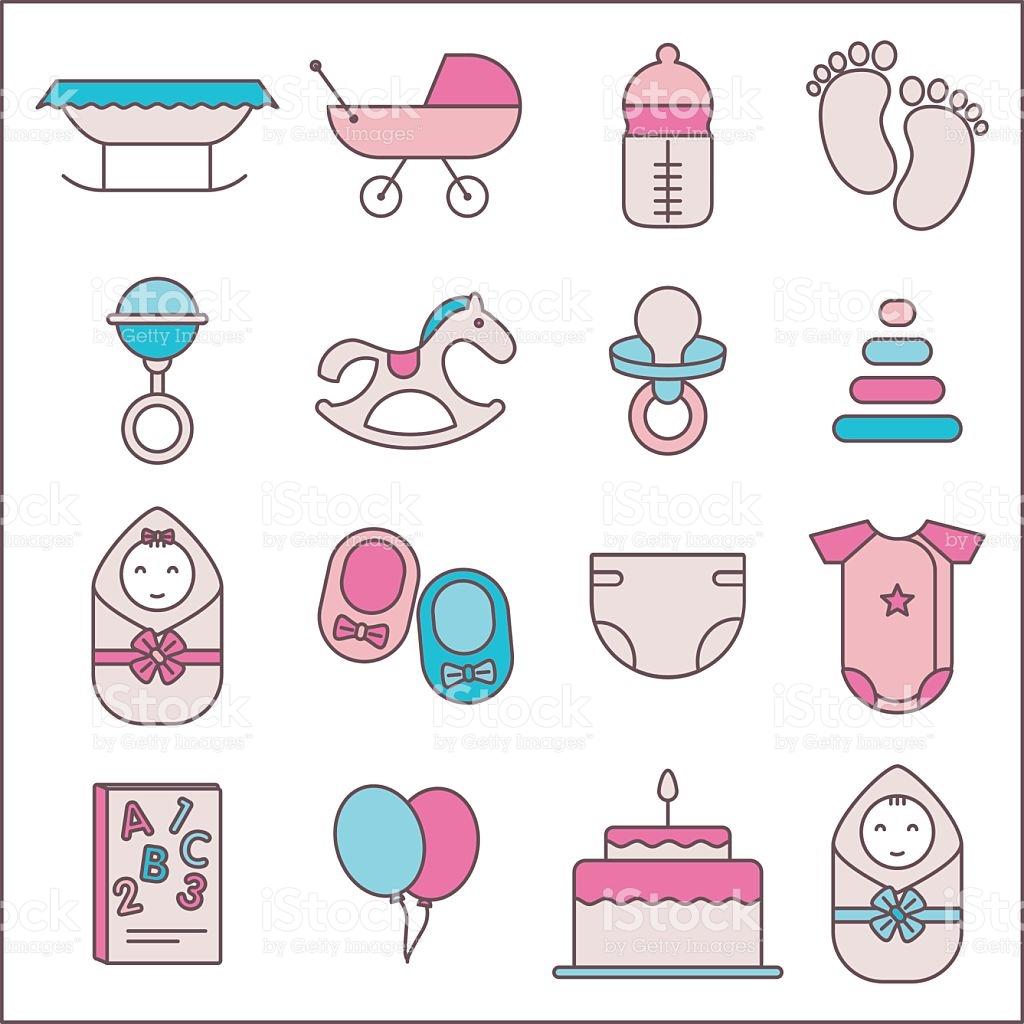 Baby Icon Set stock vector art 628360652.
