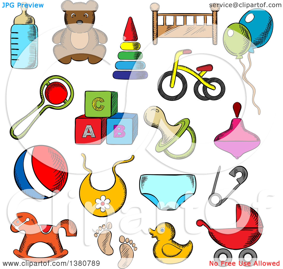Clipart of Sketched Toys, Diaper, Bottle, Pacifier, Rattle.