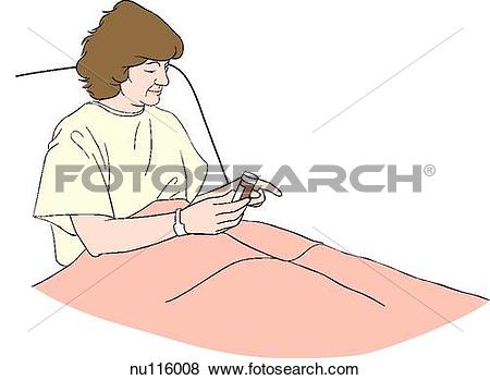 Stock Illustration of Patient in hospital bed holds bottle of.