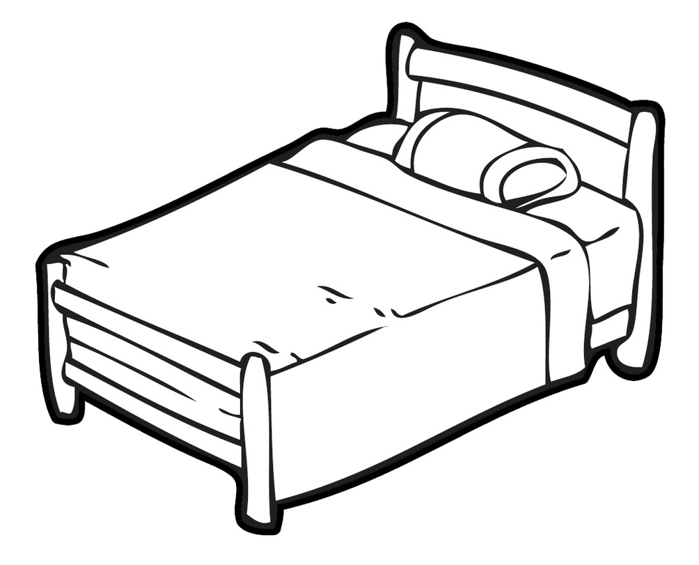 Clipart bed black and white.