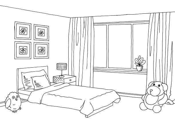 Bedroom clipart black and white pencil in color bedroom.
