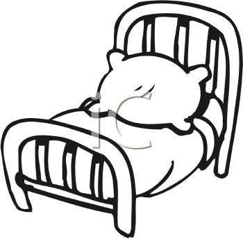 White 0511 1008 0319 2532 Black And White Cartoon Bed Clipart Image.