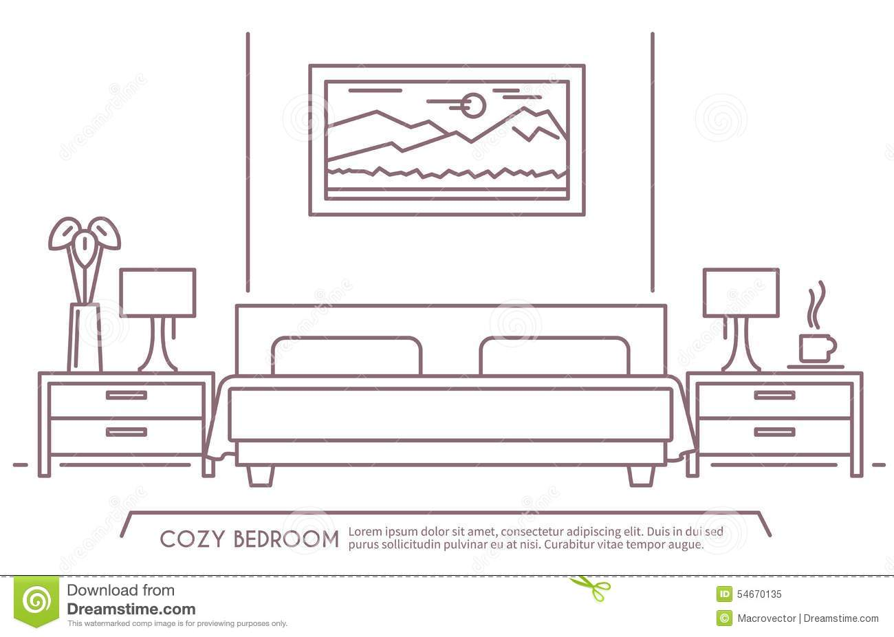 Bed clipart outline clipground for Bedroom design template