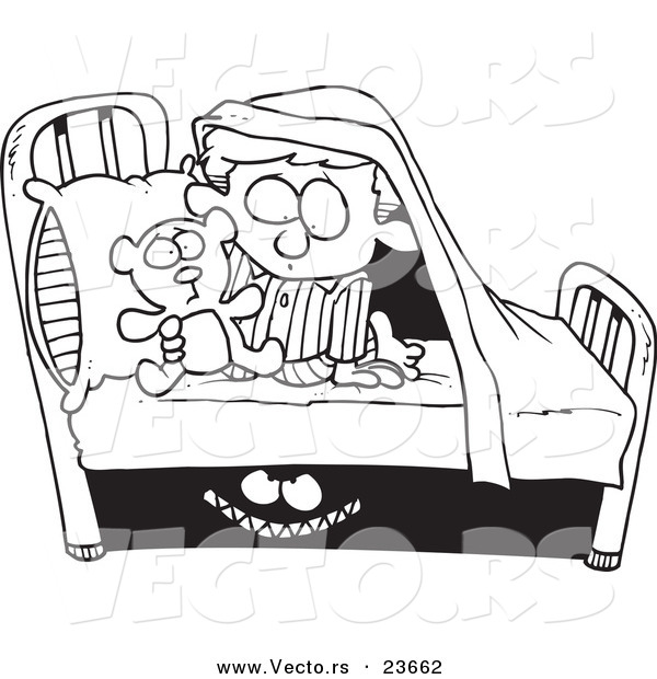 Vector of a Cartoon Monster Scaring a Boy Under a Bed.