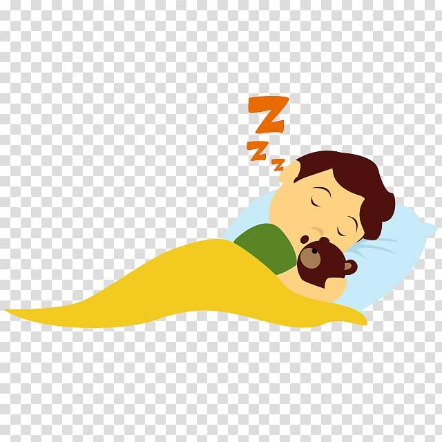 Boy sleeping on bed hugging bear illustration, Child Sleep.