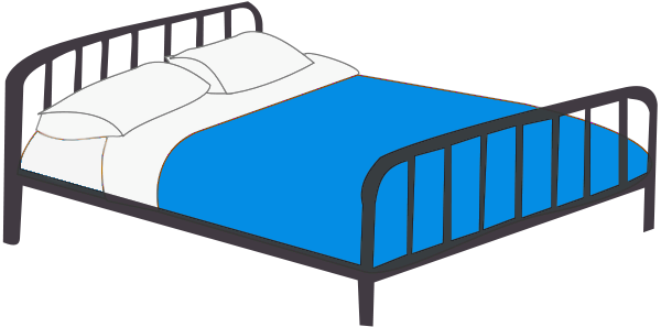 Blue bed clipart.