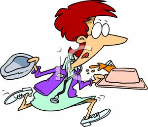 A Colorful Cartoon of a Nurse Running with a Food Tray and.