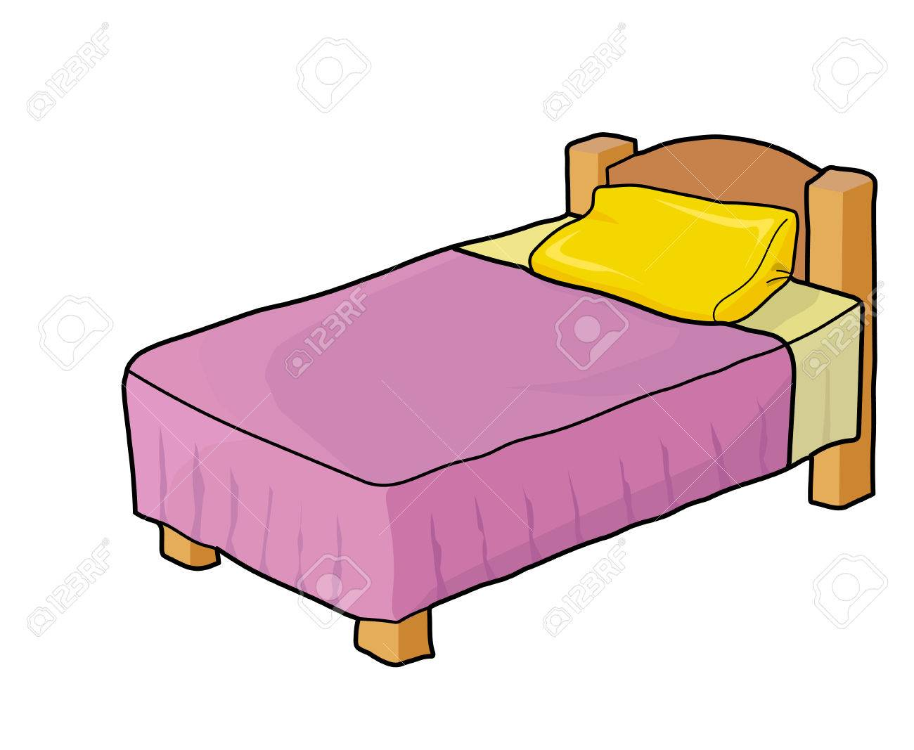 Wooden bed. Purple blanket. Yellow pillow..