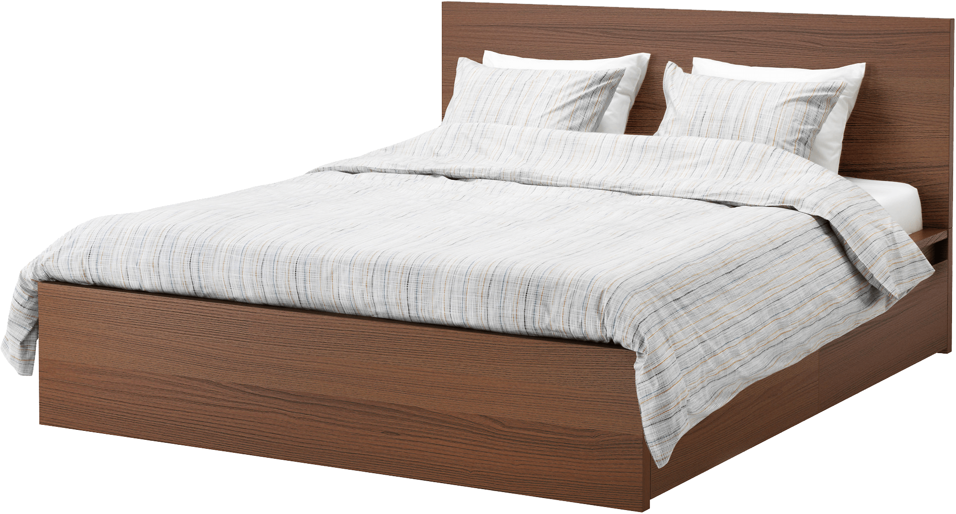 Modern Wooden Bed transparent PNG.