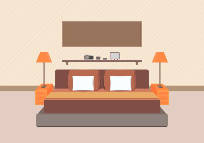 Modern Bedroom Furniture Vector.