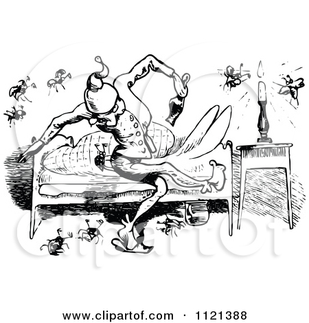 Clipart Of Retro Vintage Black And White Bed Bugs Attacking A Man.