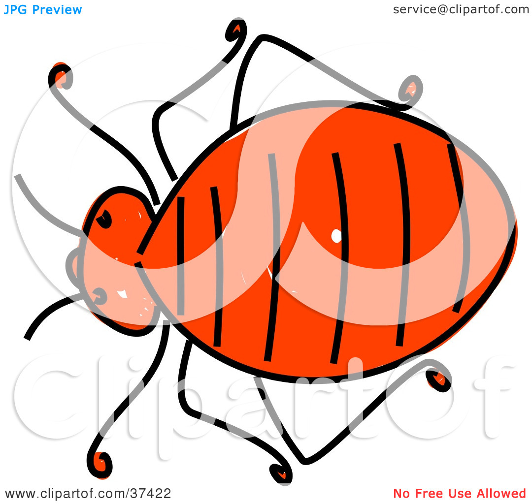 Clipart Illustration of a Fat Red Bedbug by Prawny #37422.