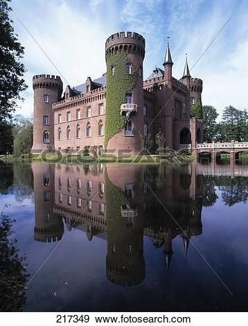 Stock Photograph of Moat surrounding castle, Bedburg.
