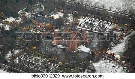 "Stock Photograph of ""Aerial view, Moyland, Christmas market."