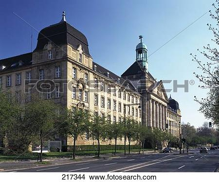 Stock Photo of Government building on roadside, Dusseldorf.