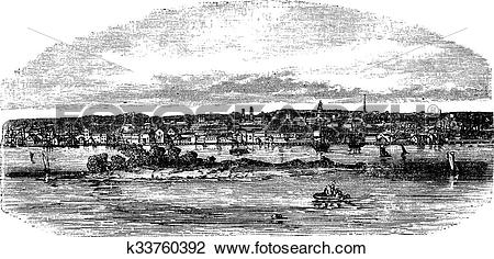 Clipart of New Bedford in Massachusetts, USA, vintage engraved.