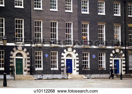 Pictures of Row houses with coloured doors on Bedford Square.