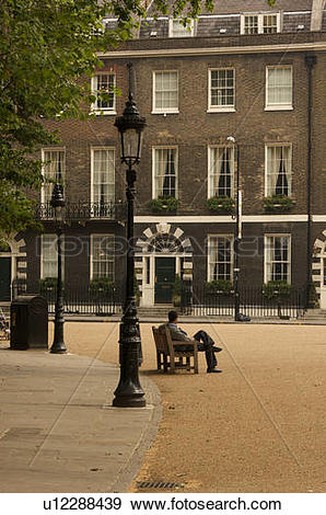 Stock Photograph of Bedford Square, Bloomsbury, London, view of.