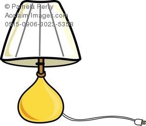 Clip Art Illustration of a Bedroom Table Lamp.