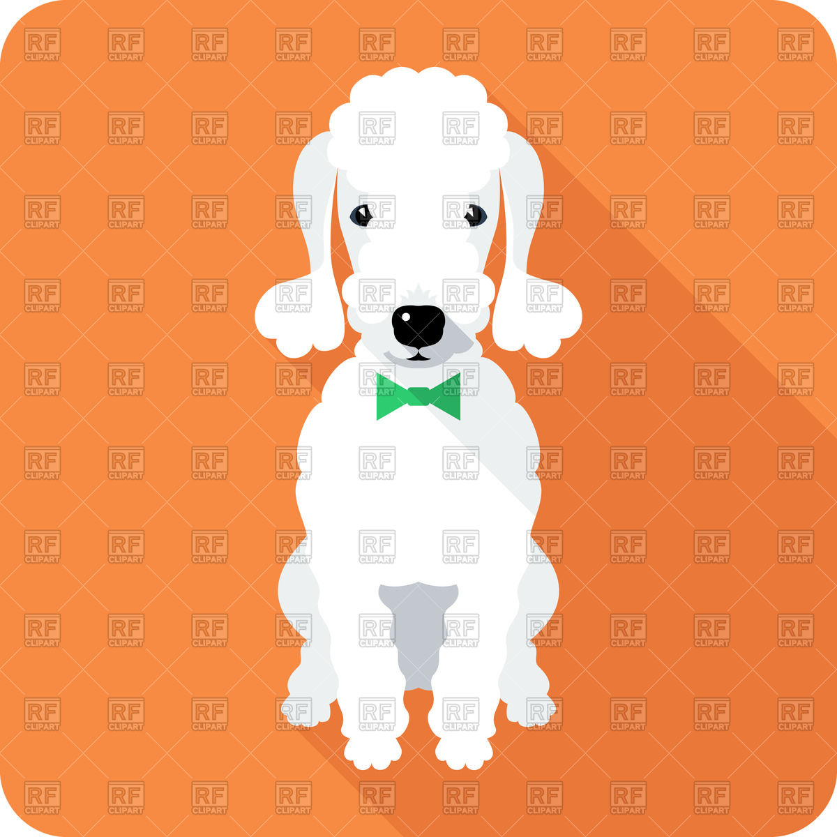 Flat design icon of sitting dog.