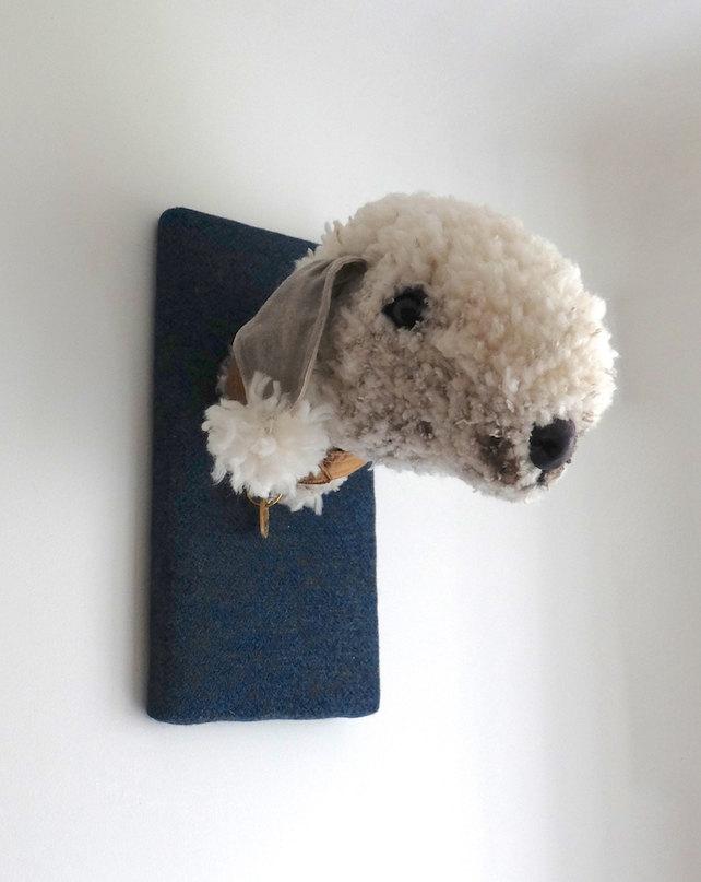 Bedlington terrier textile wall art. Handmade by charactersbyjulia.