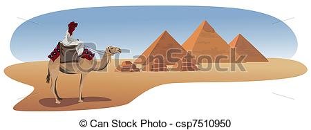 Vector Clipart of Bedouin and the Pyramids.