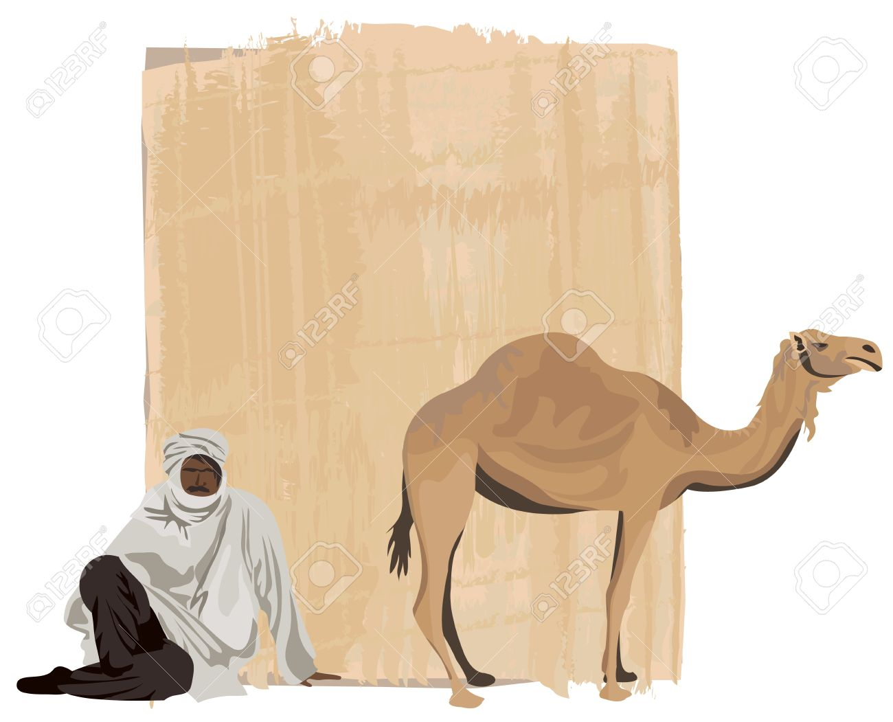Papyrus Background With A Bedouin And A Camel Royalty Free.