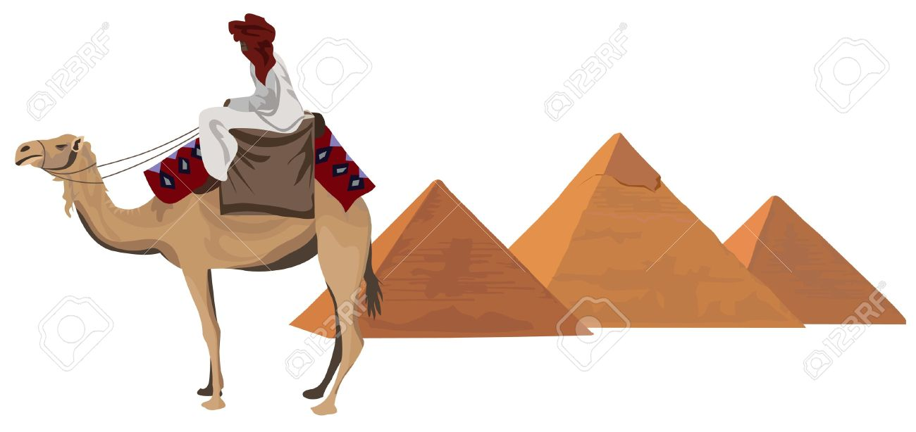 Background Illustration With A Bedouin And The Pyramids Of Giza.