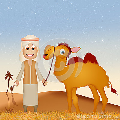 Bedouin With Camel In The Desert Stock Illustration.