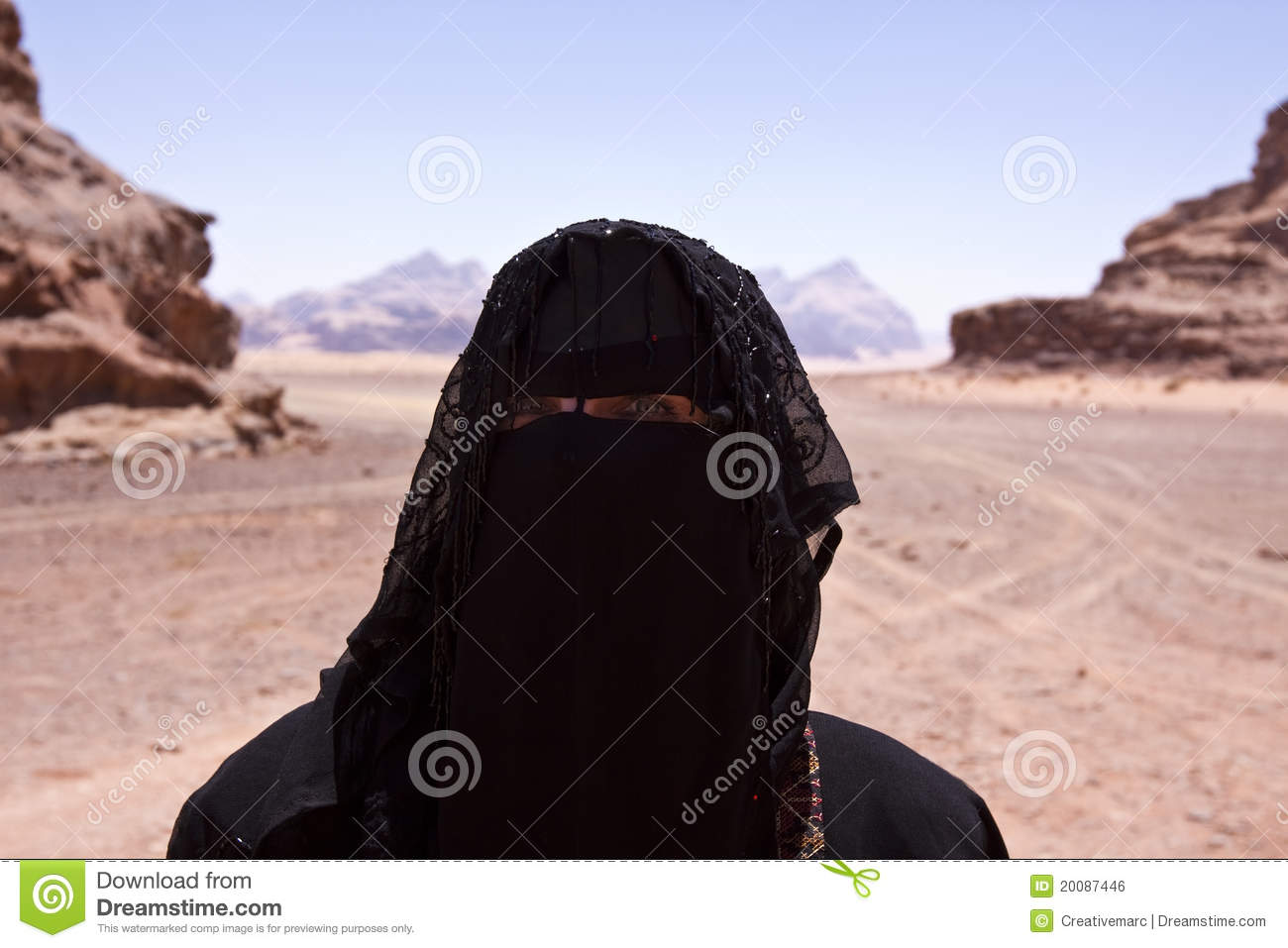 Portrait Of Bedouin Woman With Burka In Desert Royalty Free Stock.