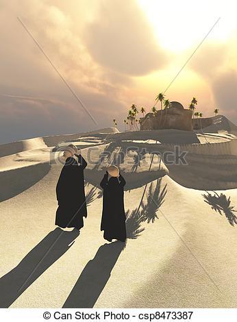 Stock Illustrations of Bedouin Women.