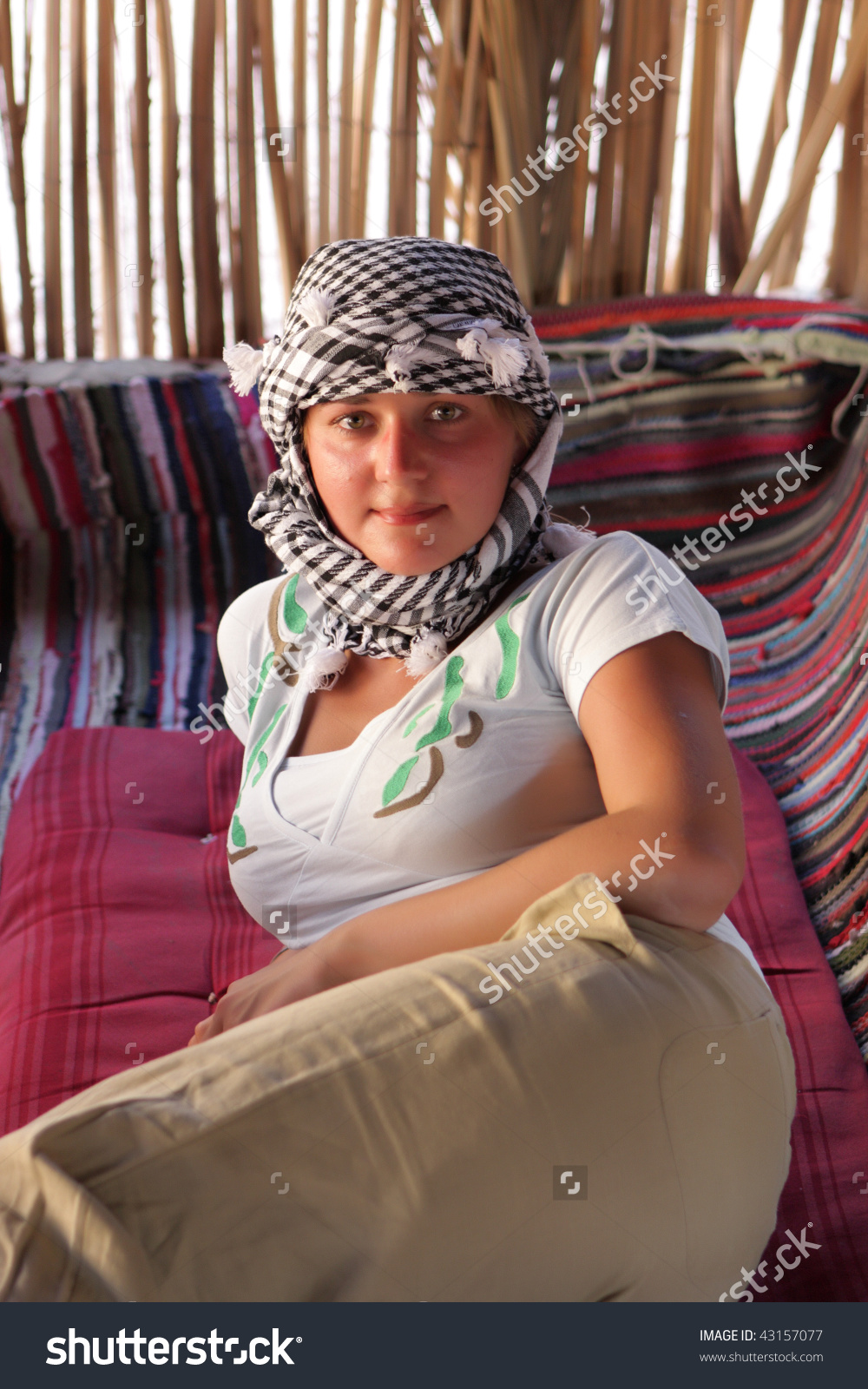 Woman Rests Bedouin Tent Desert Excursion Stock Photo 43157077.