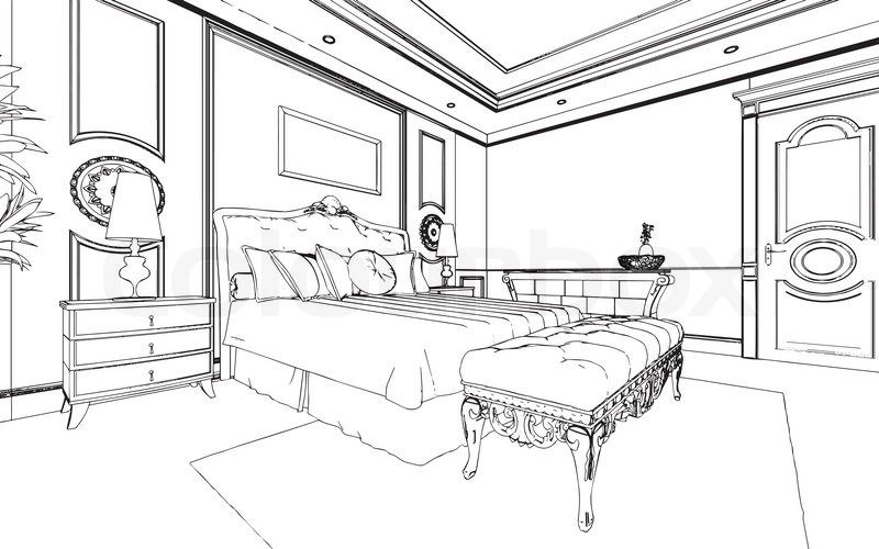 Bed black and white bedroom clipart black and white pencil.