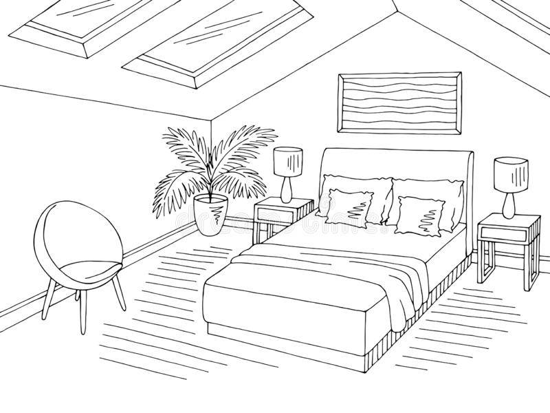 Astonishing Bedroom Black And White Clip Art Attic Home.