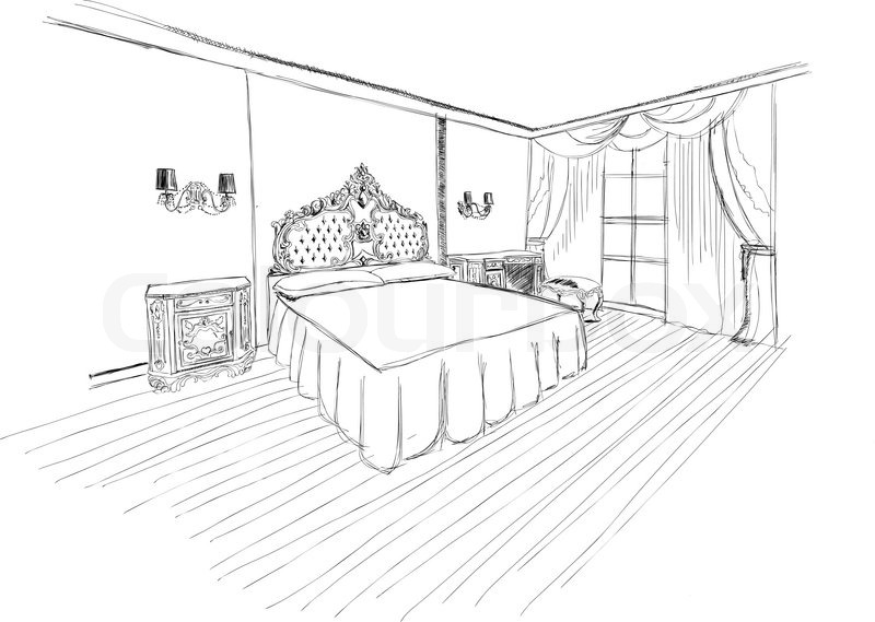 Bed black and white classic bedroom interior designed in.