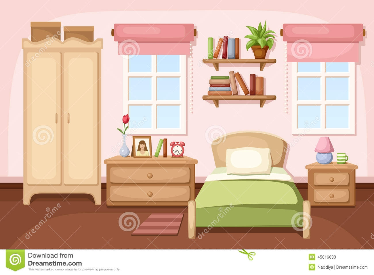 Kinder Schlafzimmer Premium Clipart - Schlafzimmer Clipart