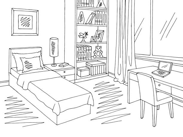 Best White And Black Bedroom Pictures Illustrations, Royalty.
